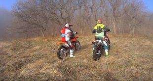 Перестановка мотоцикла на склоне