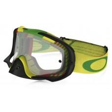 Очки для мотокросса OAKLEY Crowbar Biohazard Rasta желтые-зеленые / прозрачная