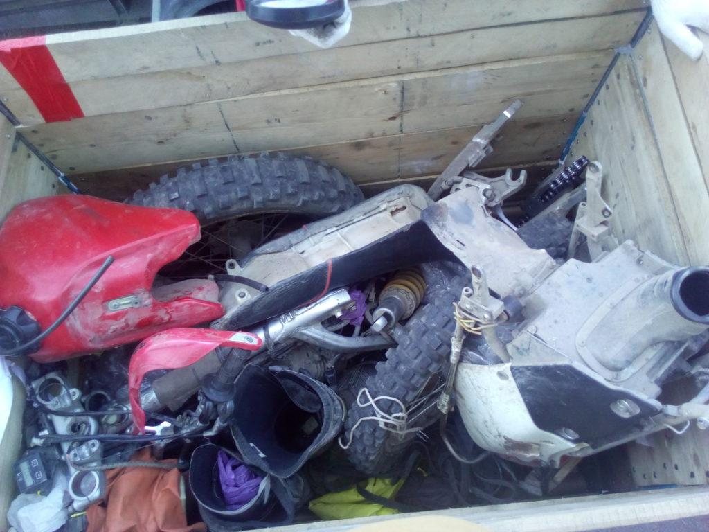 Мотоцикл на палетте